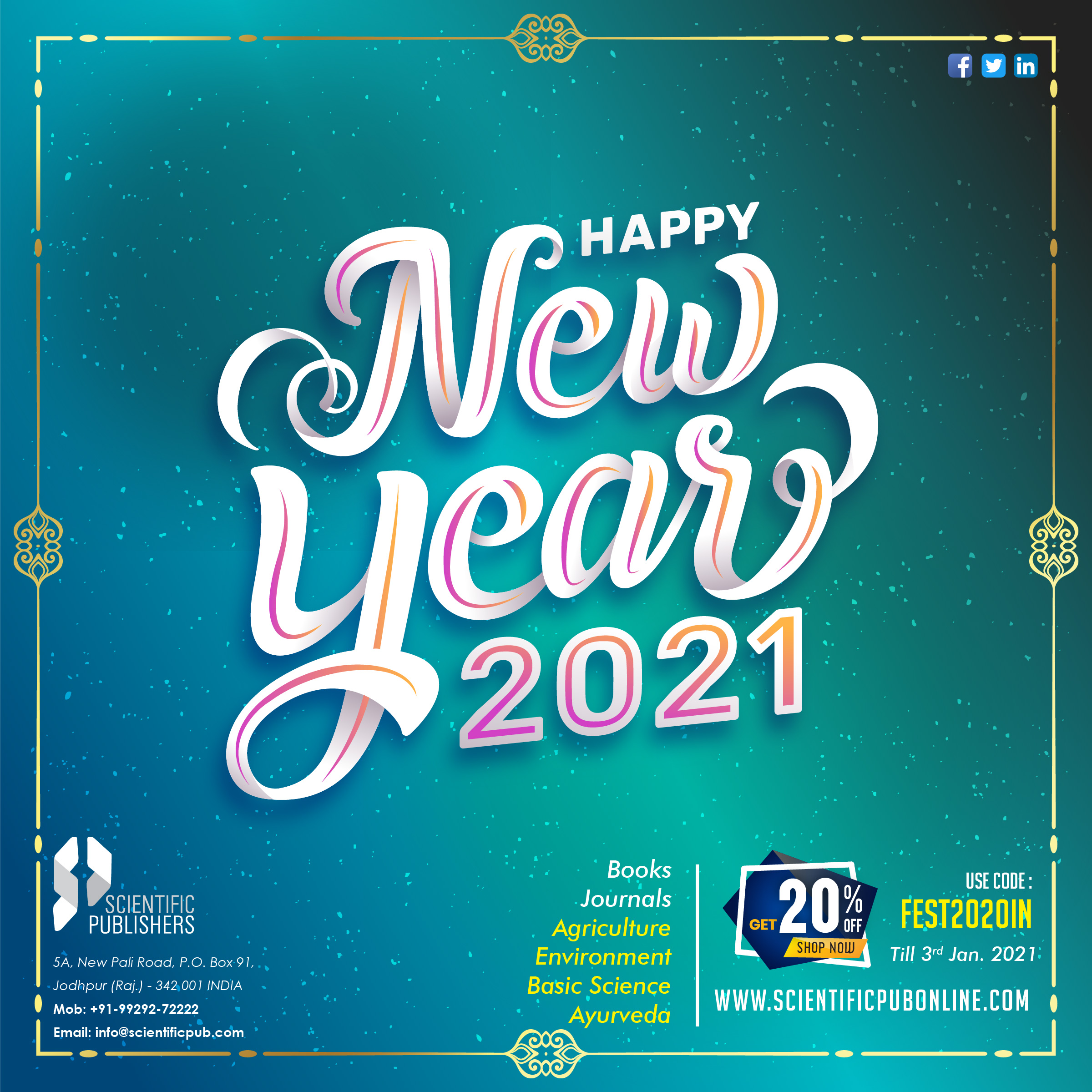Happy New Year 2021 to all the book lovers from Scientific Publishers!